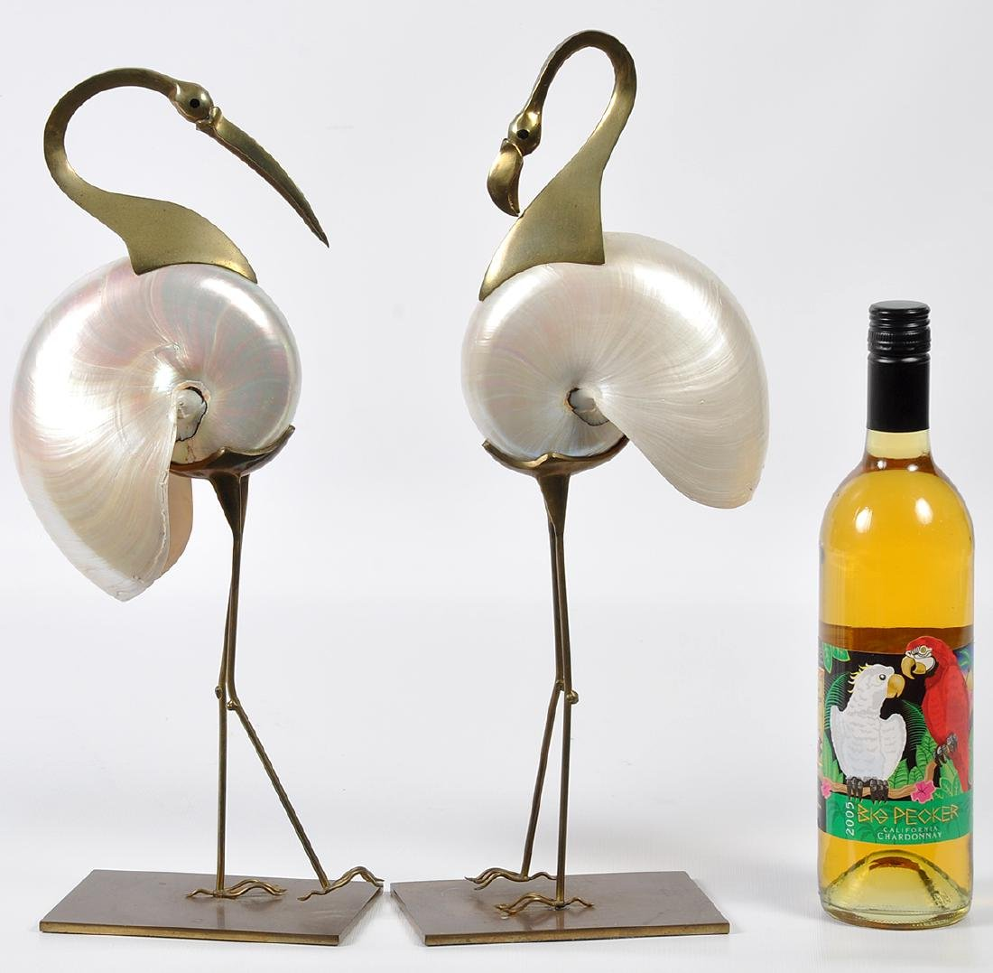 2 Bronze Mounted Nautilus Shell Bird Sculptures