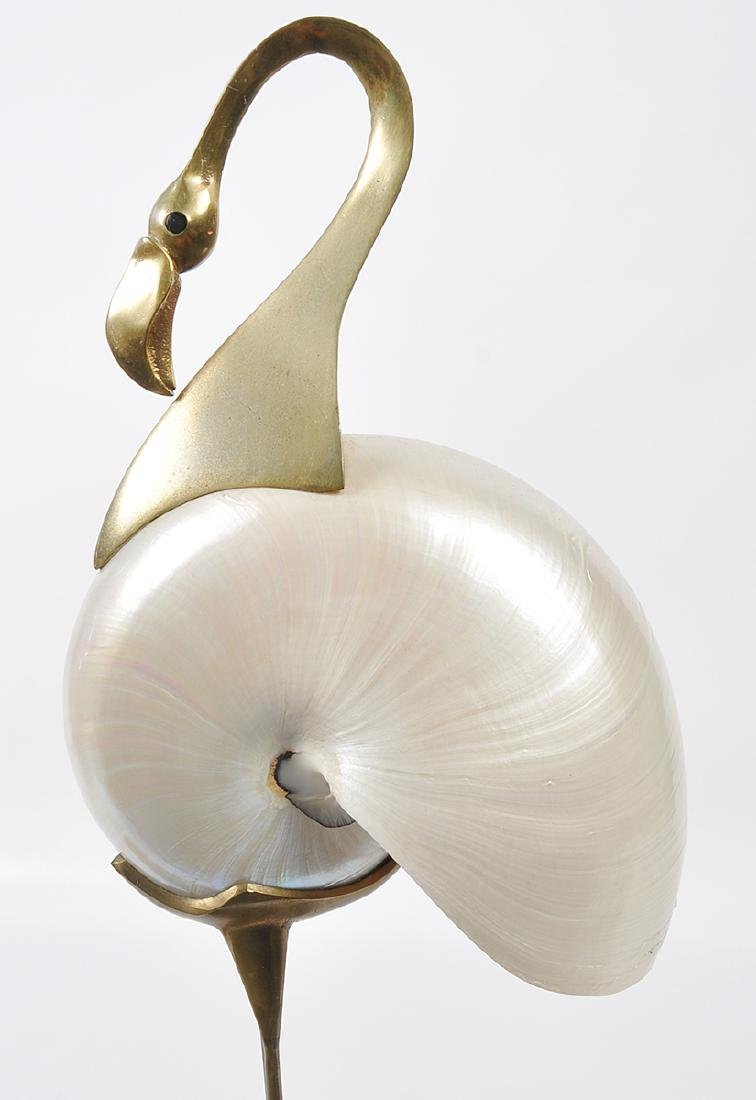 2 Bronze Mounted Nautilus Shell Bird Sculptures - 2