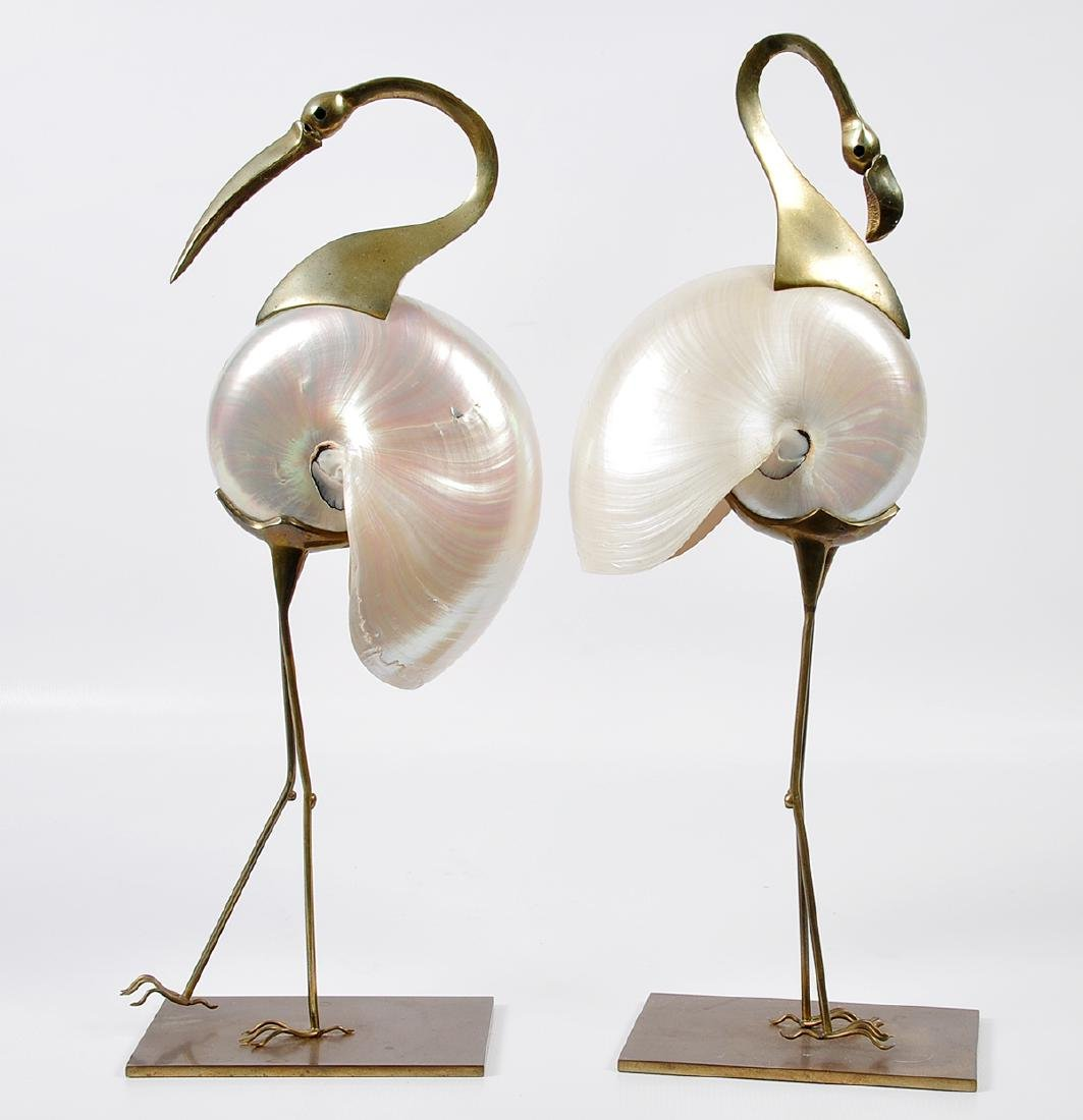 2 Bronze Mounted Nautilus Shell Bird Sculptures - 9