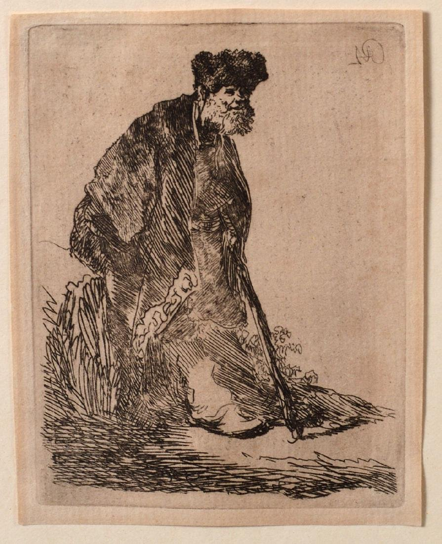 "Rembrandt van Rijn 1630's Etching ""Man on Banks"""