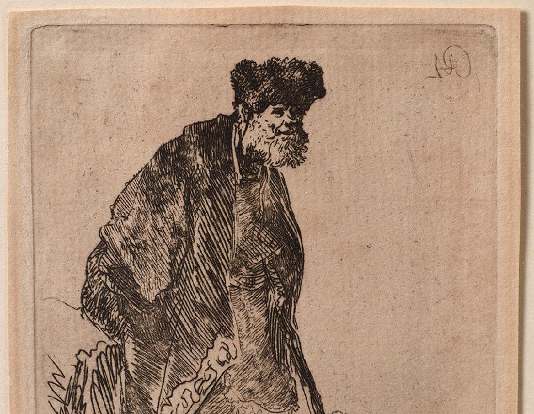 "Rembrandt van Rijn 1630's Etching ""Man on Banks"" - 4"