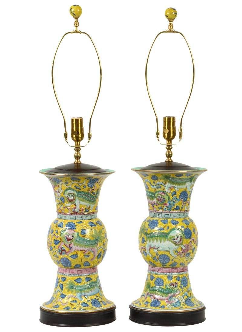 Pr. Chinese Porcelain Colorful Table Lamps