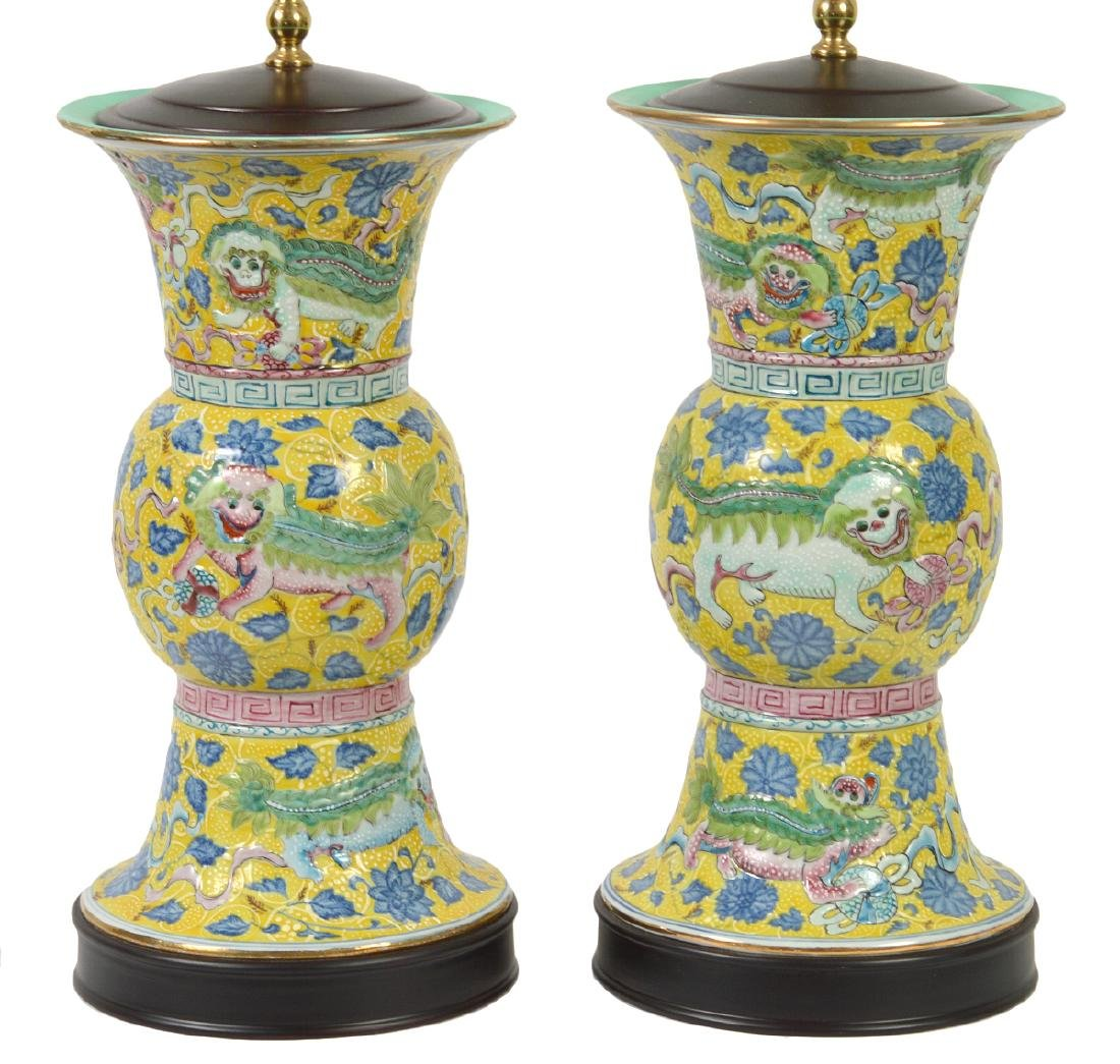 Pr. Chinese Porcelain Colorful Table Lamps - 2