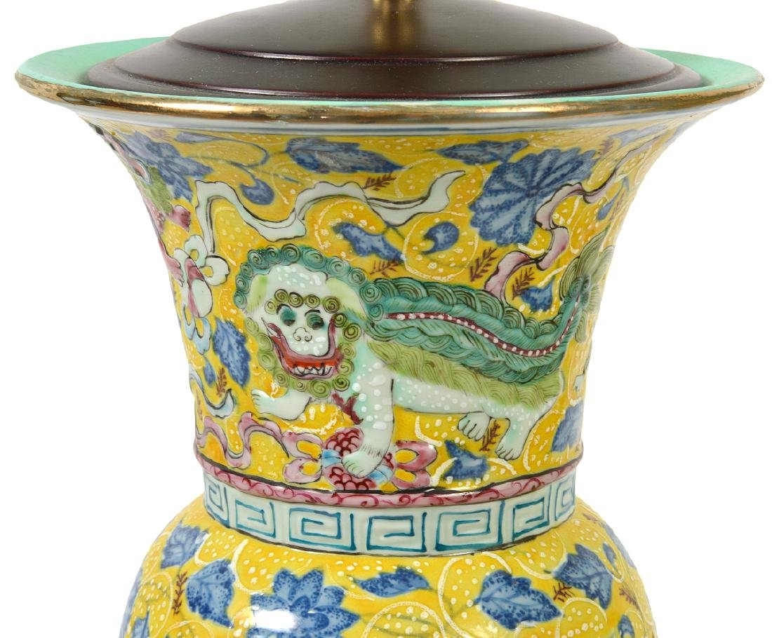 Pr. Chinese Porcelain Colorful Table Lamps - 5