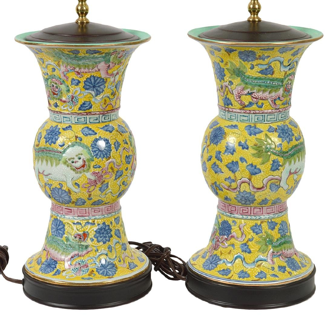 Pr. Chinese Porcelain Colorful Table Lamps - 6