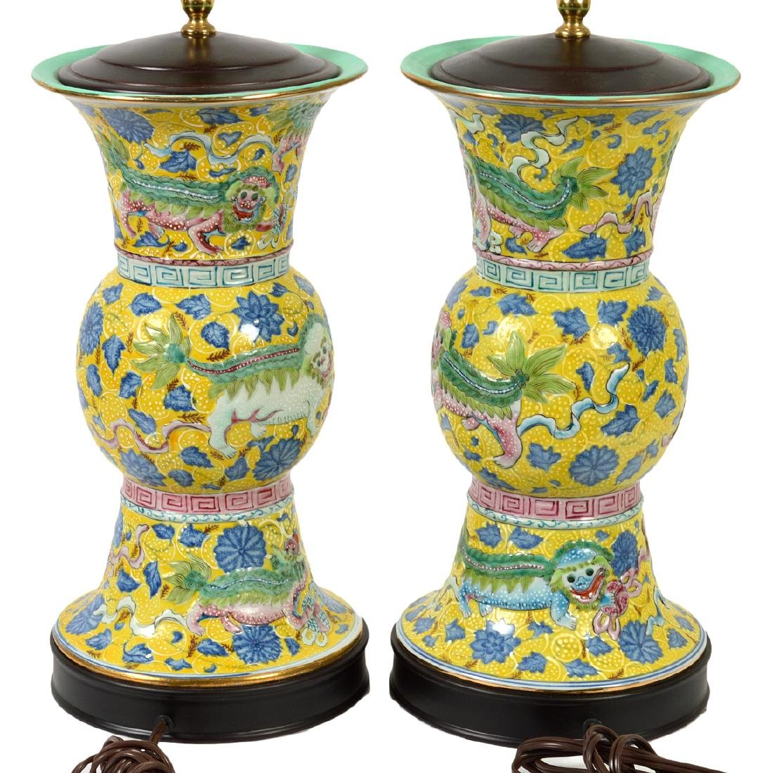 Pr. Chinese Porcelain Colorful Table Lamps - 7