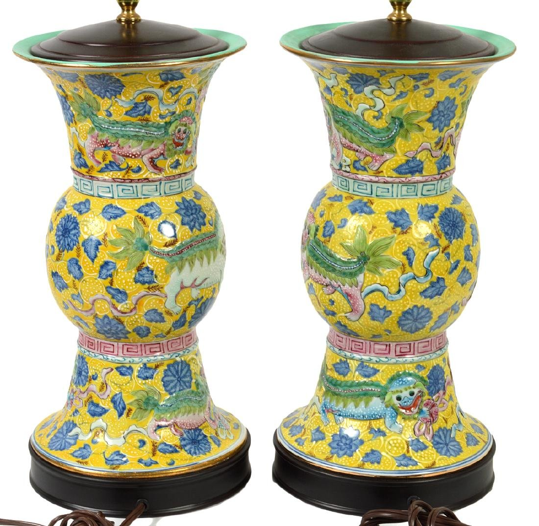 Pr. Chinese Porcelain Colorful Table Lamps - 8