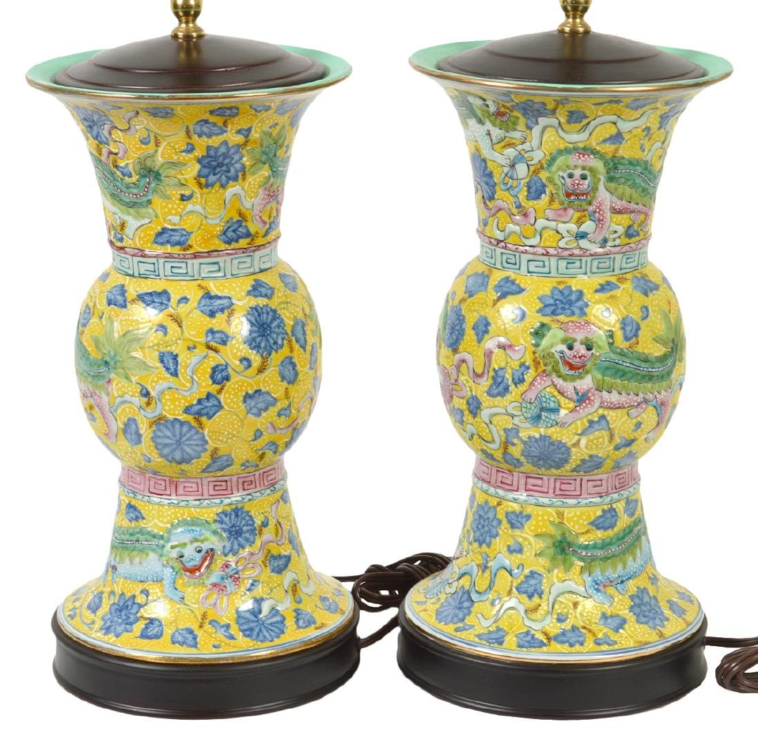 Pr. Chinese Porcelain Colorful Table Lamps - 9
