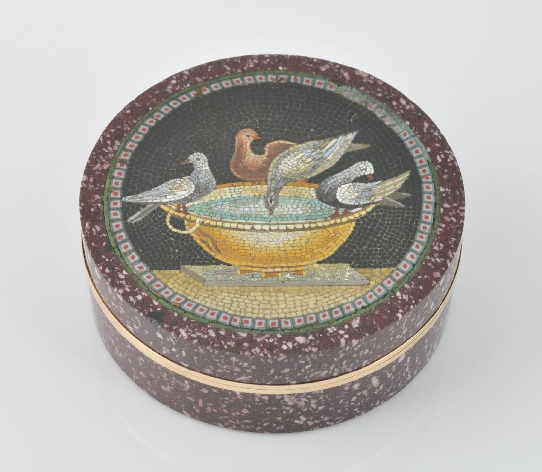 Italian Gold Mounted Micro Mosaic Box