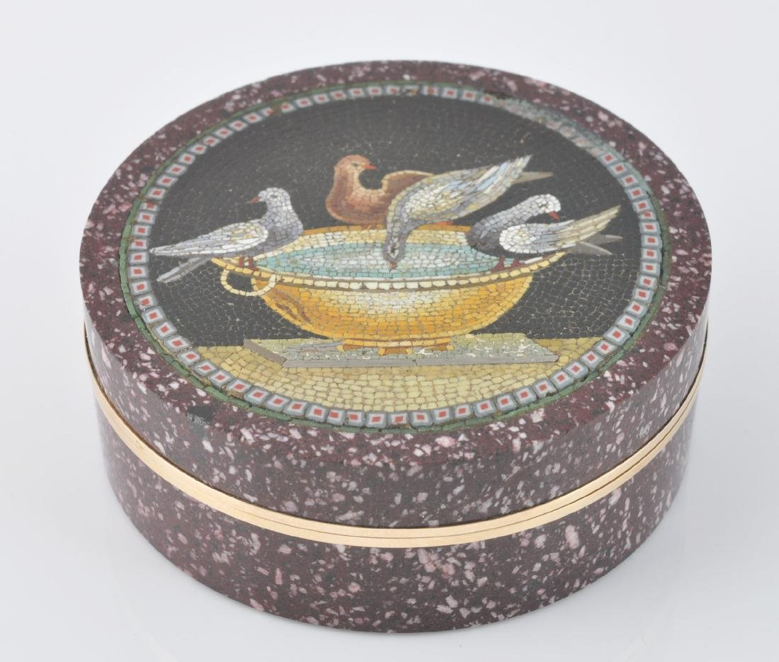 Italian Gold Mounted Micro Mosaic Box - 3