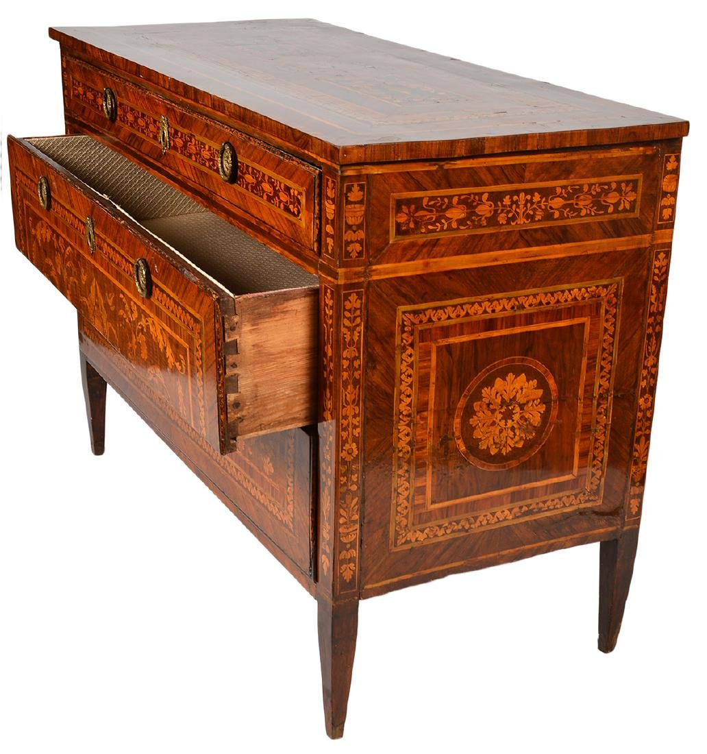 18th C. Italian Neoclassical Marquetry Commode - 10