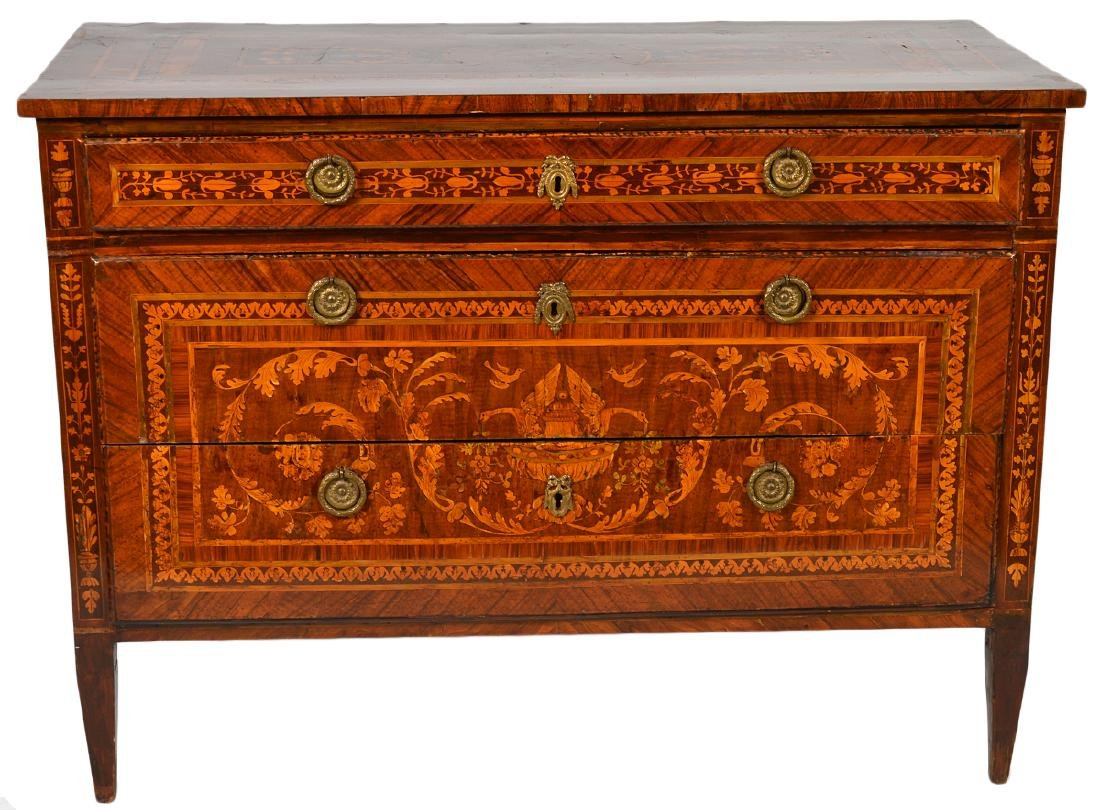 18th C. Italian Neoclassical Marquetry Commode