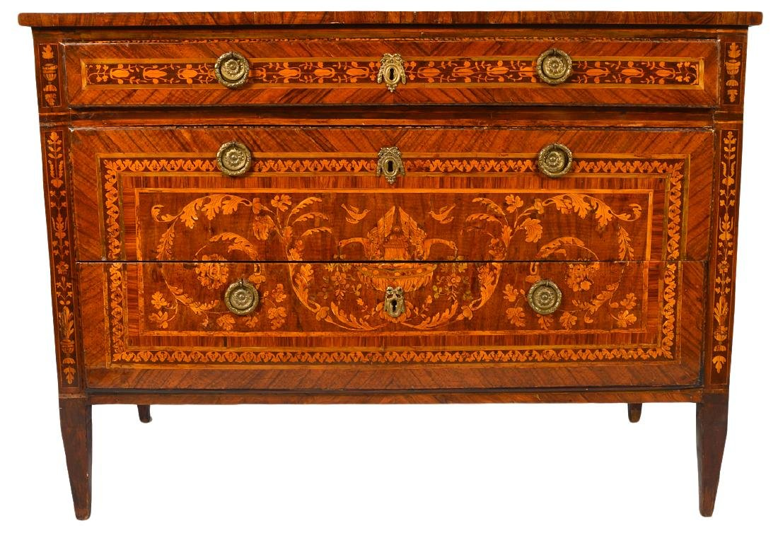 18th C. Italian Neoclassical Marquetry Commode - 3