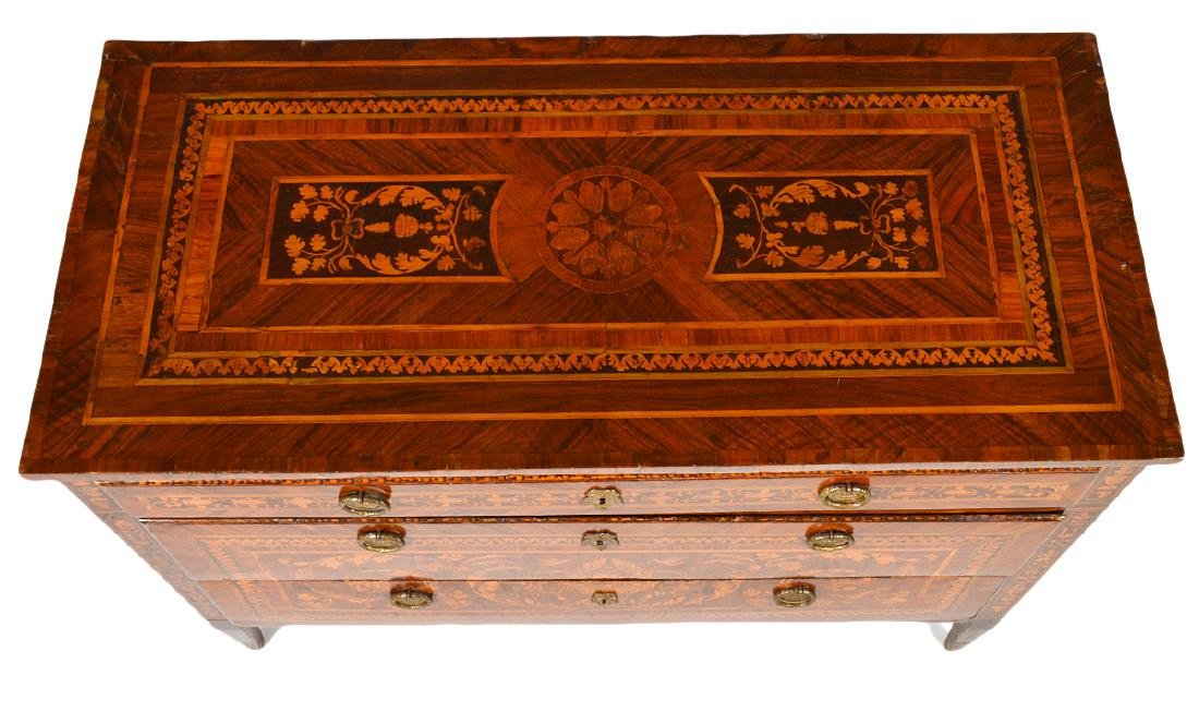 18th C. Italian Neoclassical Marquetry Commode - 6