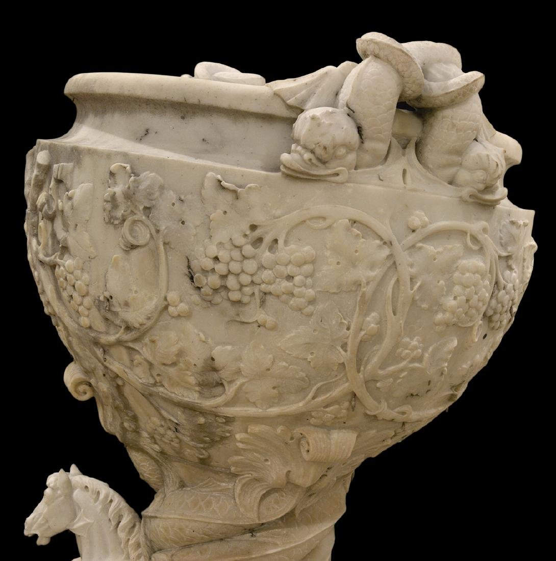 Monumental Pr. 19th C. White Carrera Marble Urns - 10