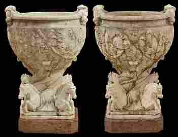 Monumental Pr. 19th C. White Carrera Marble Urns