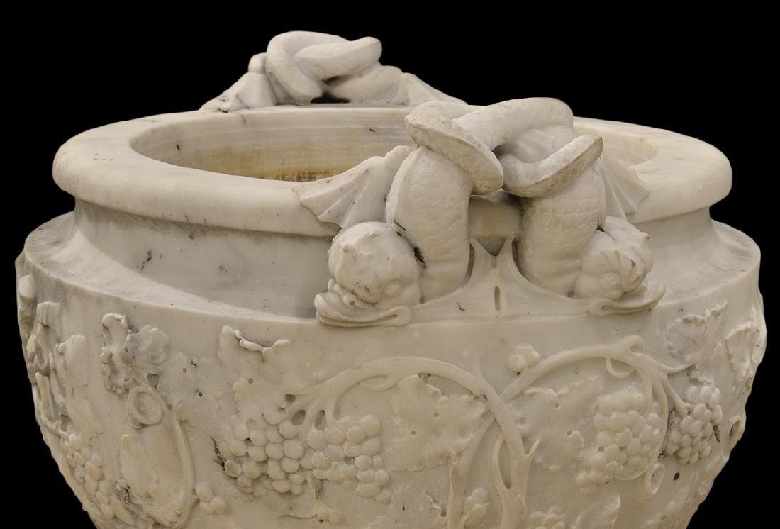 Monumental Pr. 19th C. White Carrera Marble Urns - 7