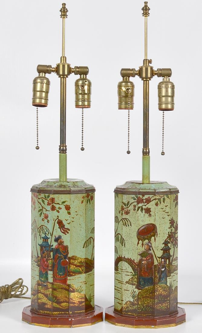 Pr. English 19th C. Tole Biscuit Tin Lamps