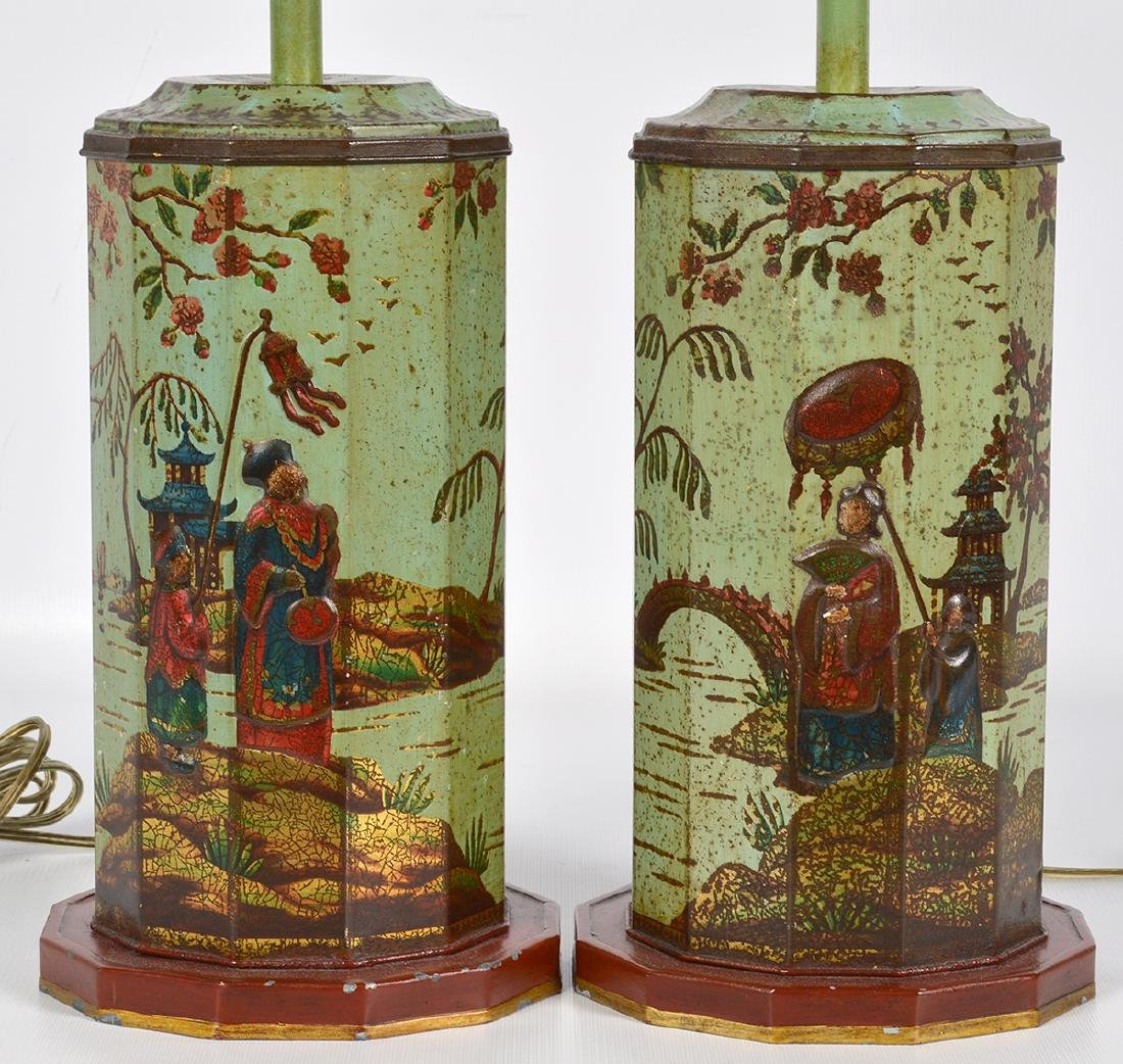 Pr. English 19th C. Tole Biscuit Tin Lamps - 2