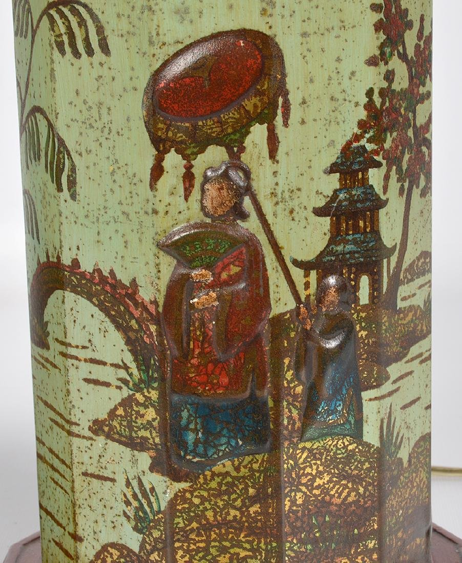 Pr. English 19th C. Tole Biscuit Tin Lamps - 3