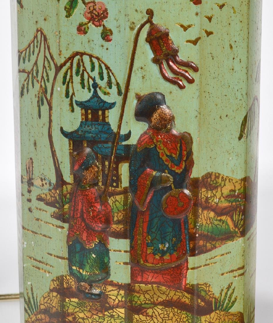 Pr. English 19th C. Tole Biscuit Tin Lamps - 4
