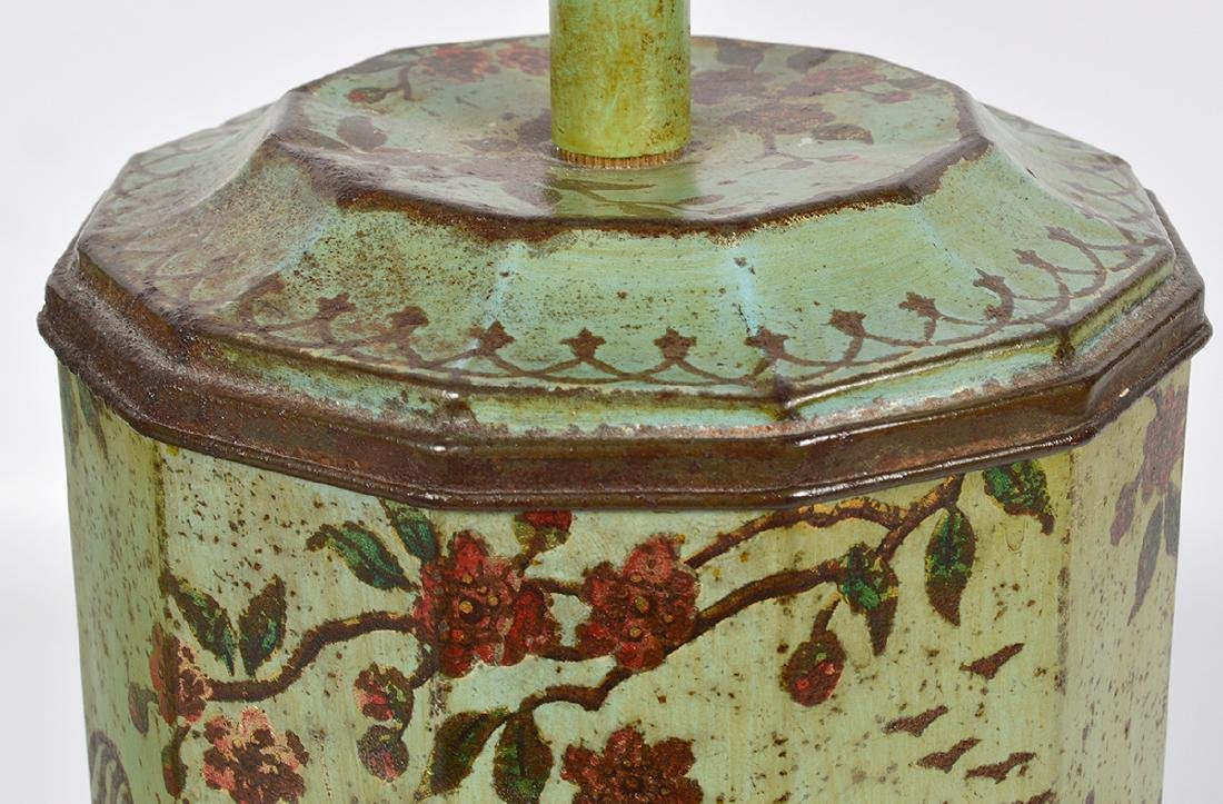 Pr. English 19th C. Tole Biscuit Tin Lamps - 5