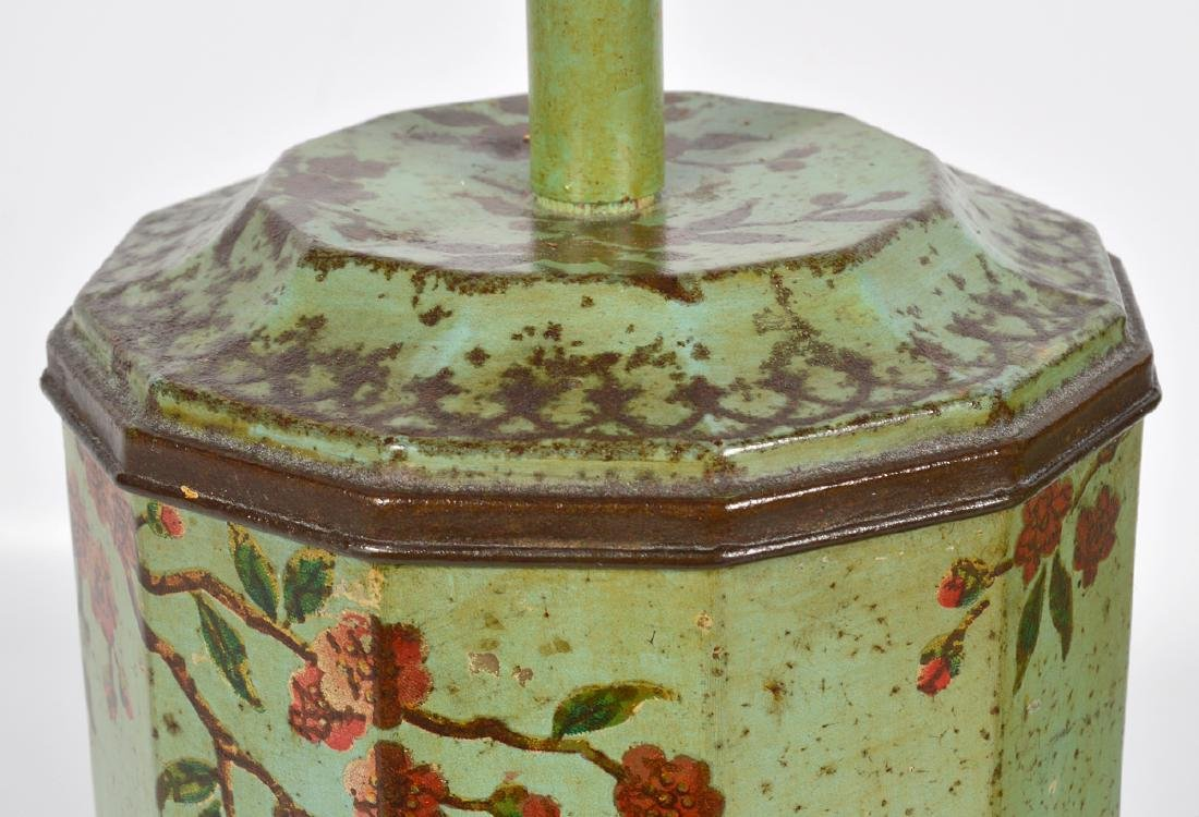 Pr. English 19th C. Tole Biscuit Tin Lamps - 6