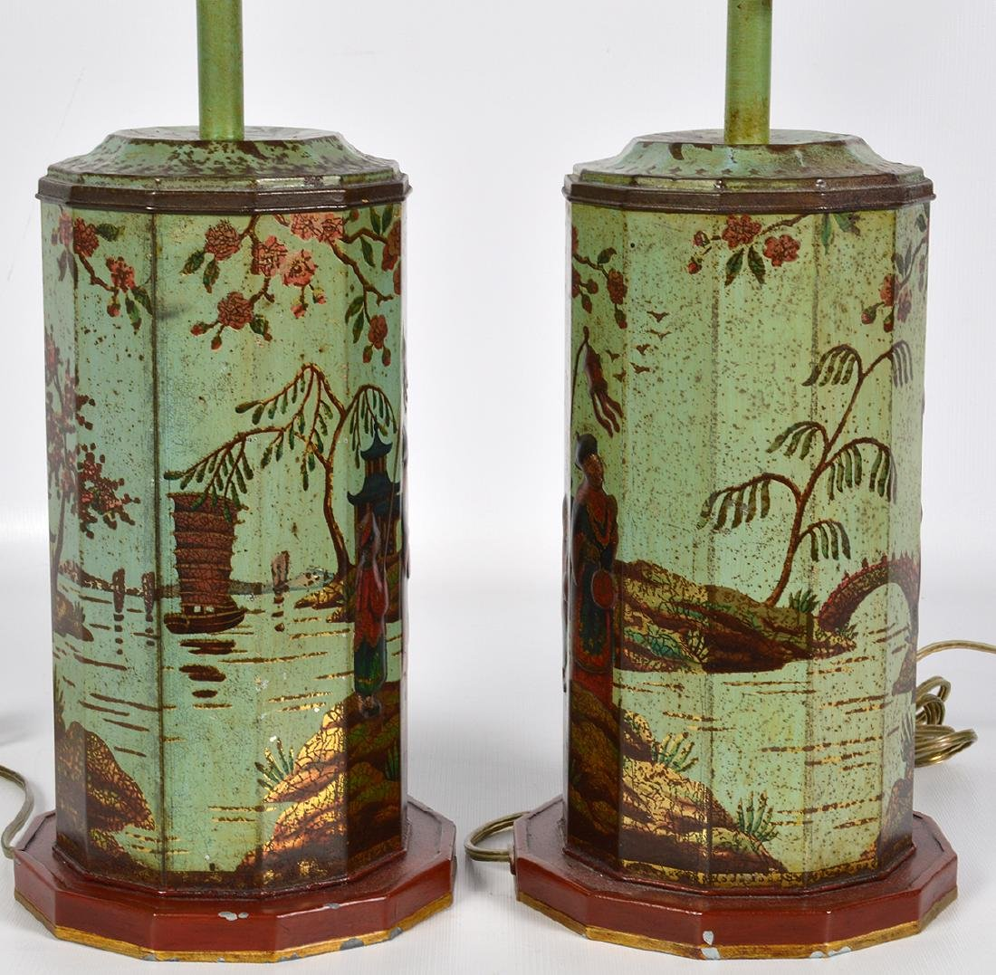 Pr. English 19th C. Tole Biscuit Tin Lamps - 7