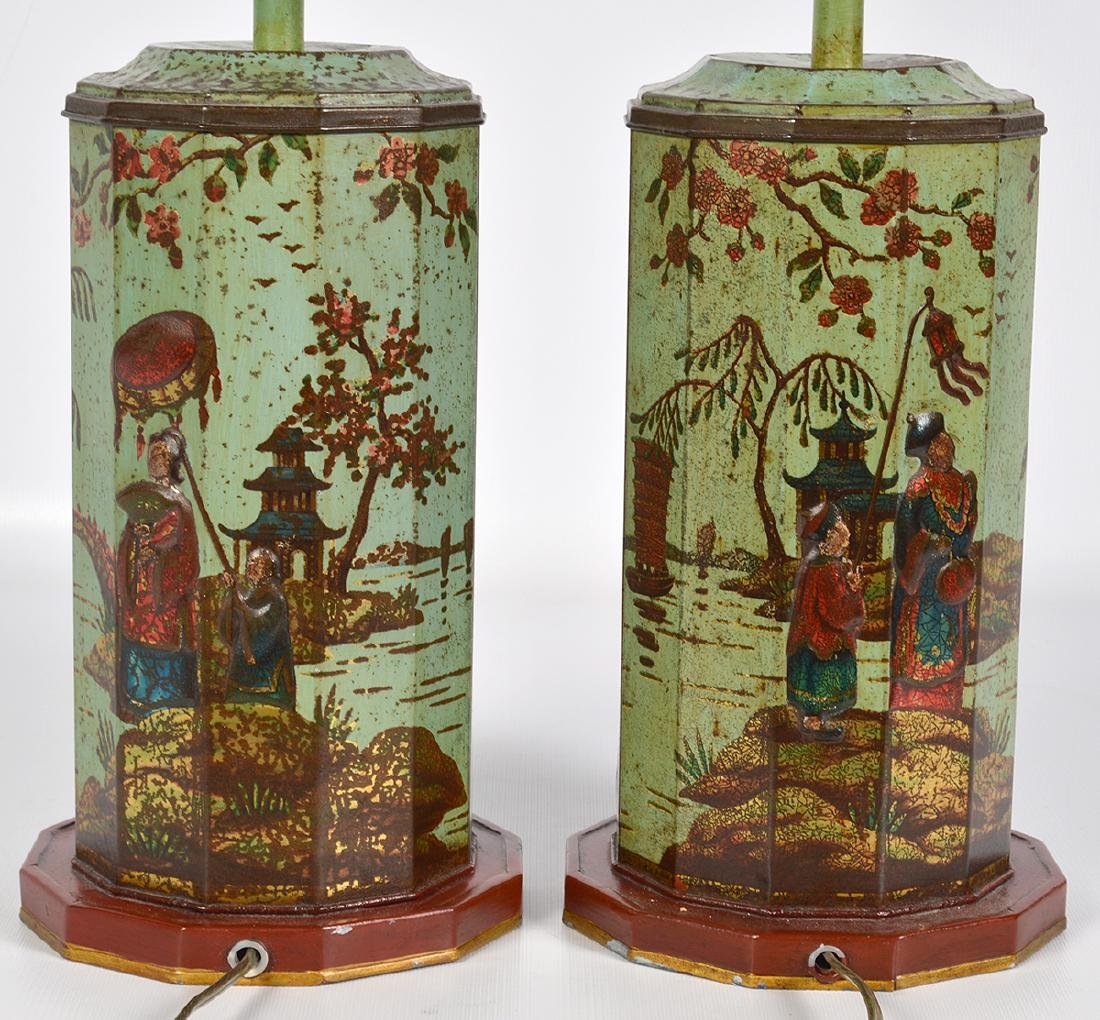 Pr. English 19th C. Tole Biscuit Tin Lamps - 8
