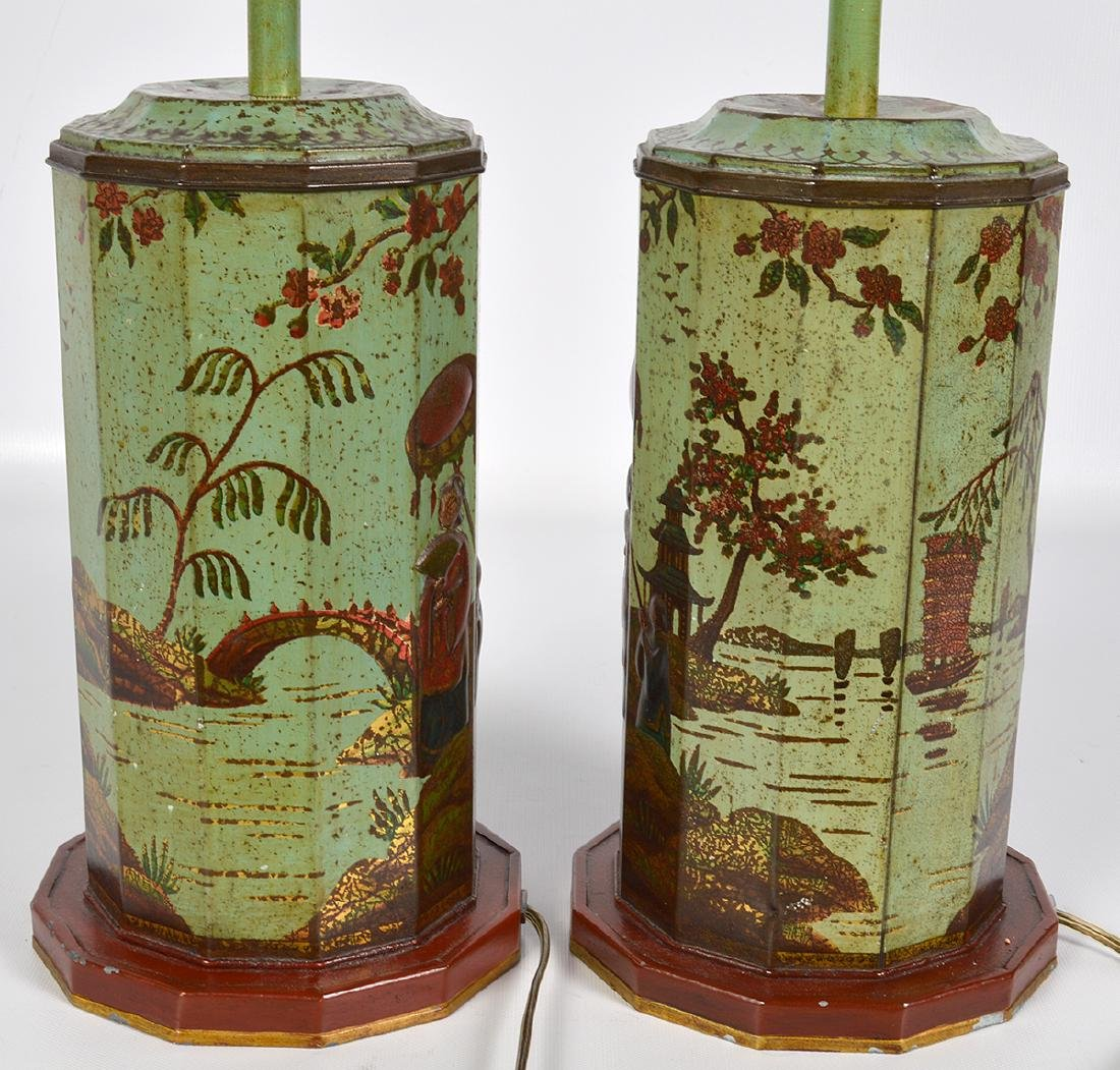 Pr. English 19th C. Tole Biscuit Tin Lamps - 9