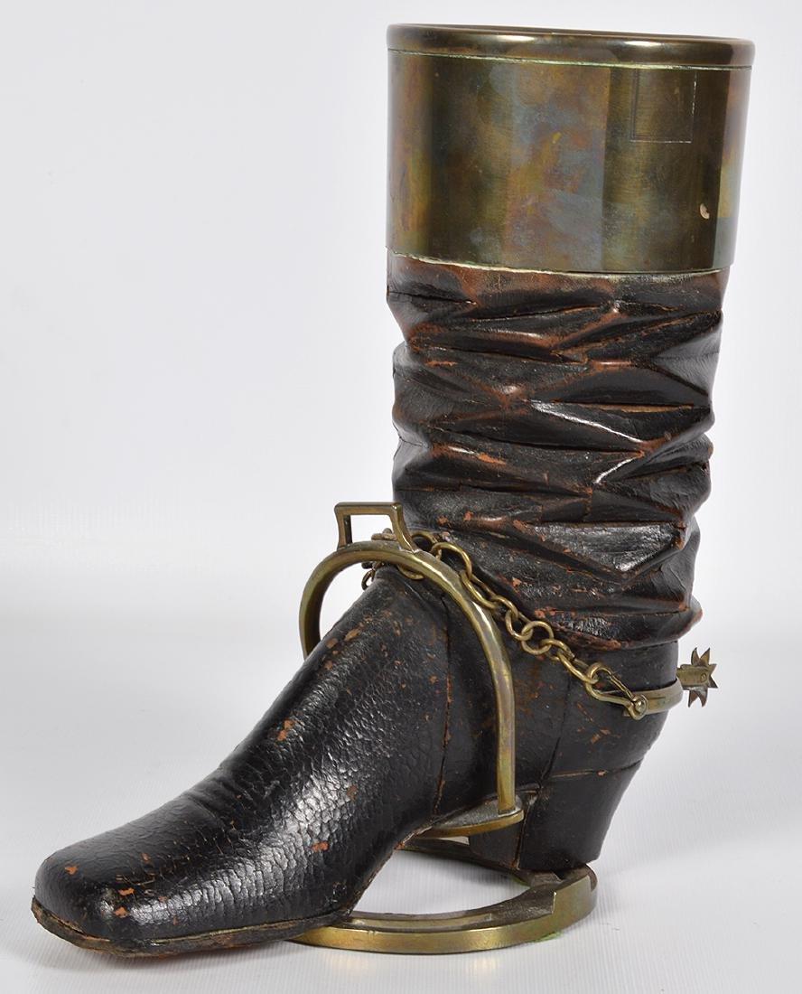 Bronze & Wood Unusual Boot & Horseshoe 'Humidor'