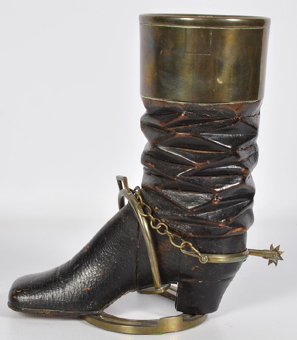 Bronze & Wood Unusual Boot & Horseshoe 'Humidor' - 2