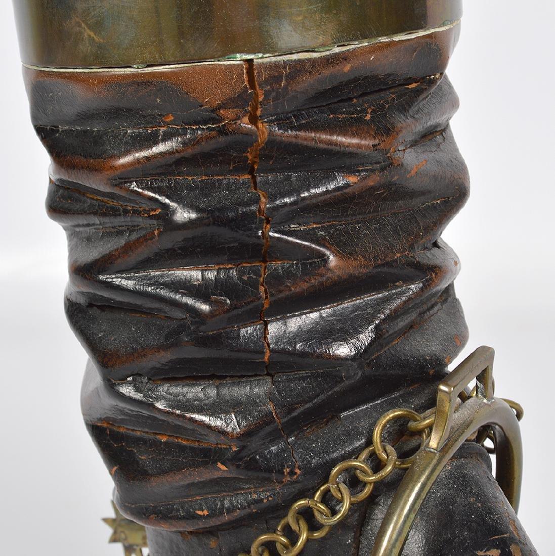 Bronze & Wood Unusual Boot & Horseshoe 'Humidor' - 5