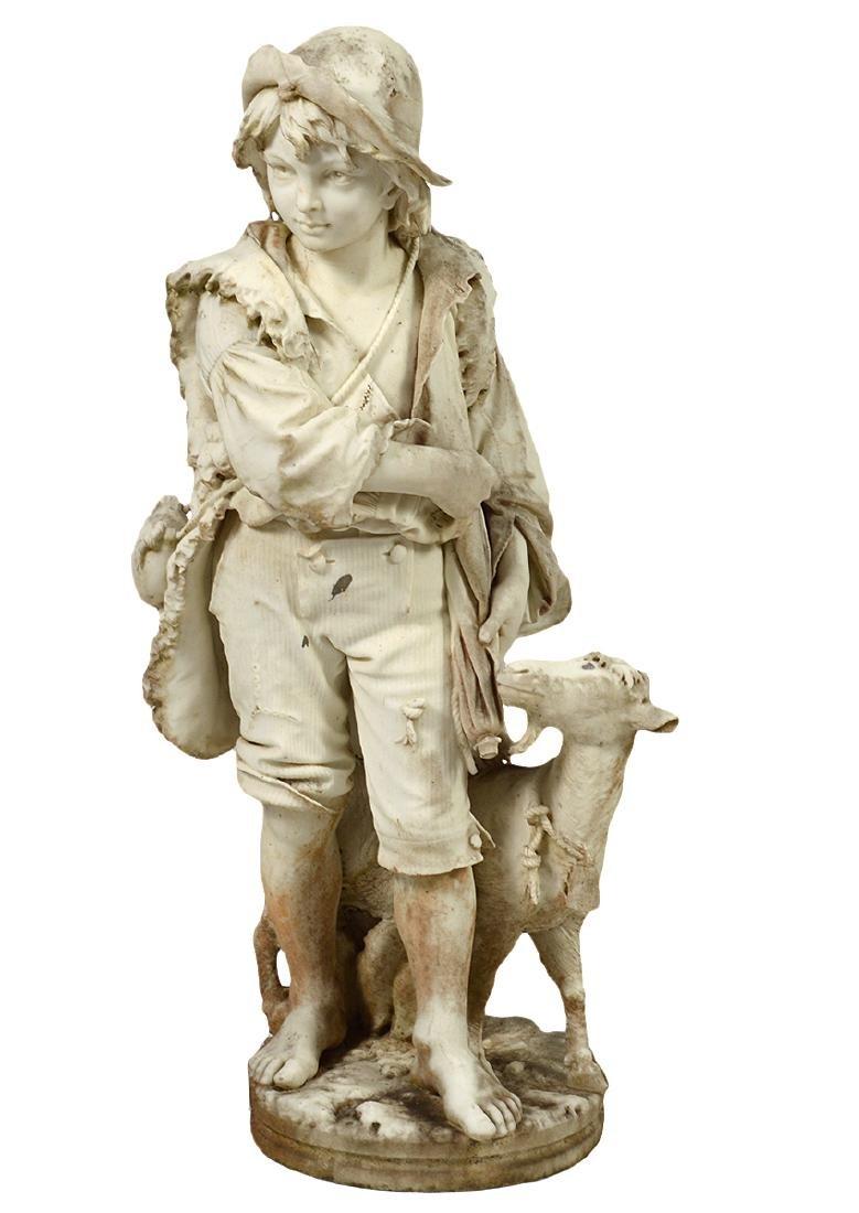 Luigi Bianchi 1890 Signed Marble Garden Statue