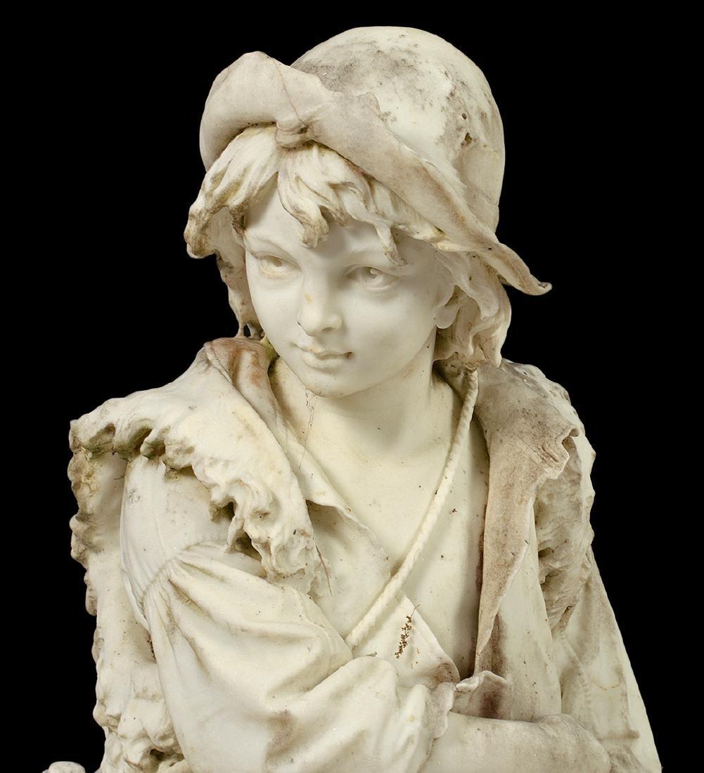Luigi Bianchi 1890 Signed Marble Garden Statue - 4