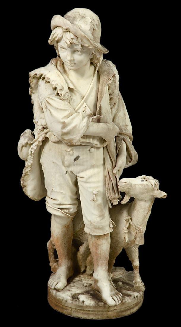 Luigi Bianchi 1890 Signed Marble Garden Statue - 5