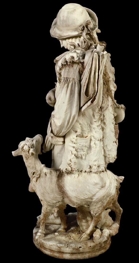 Luigi Bianchi 1890 Signed Marble Garden Statue - 7