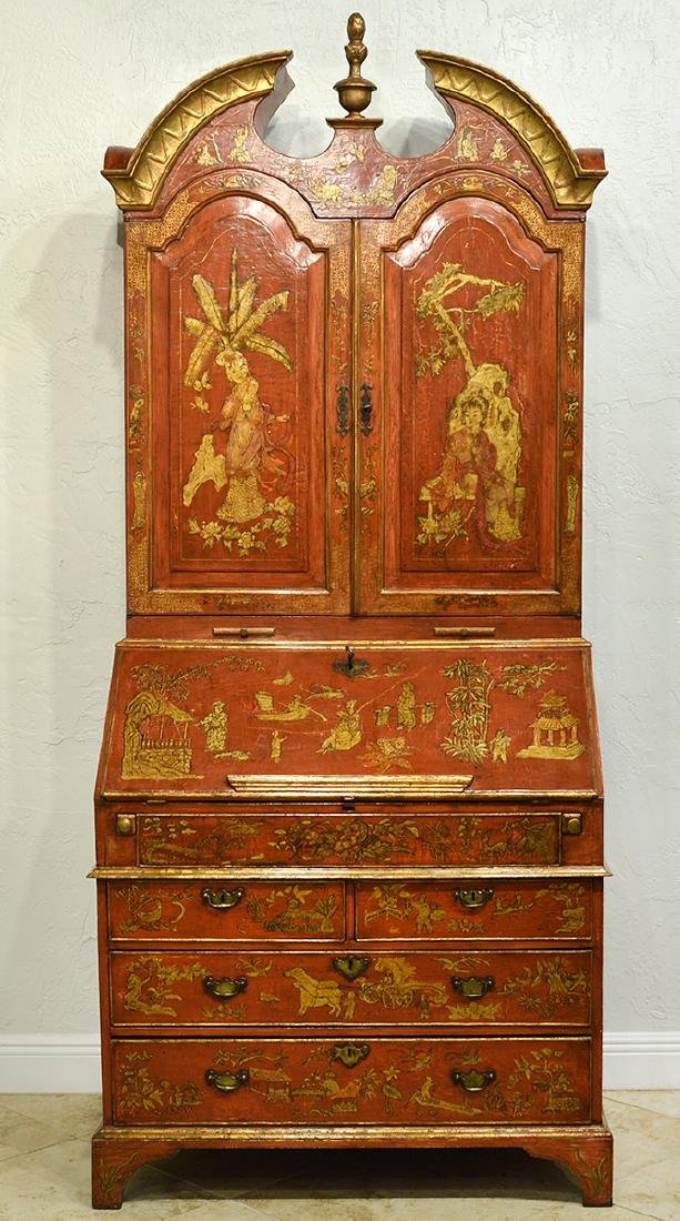 English Red Chinoiserie Queen Anne Secretary