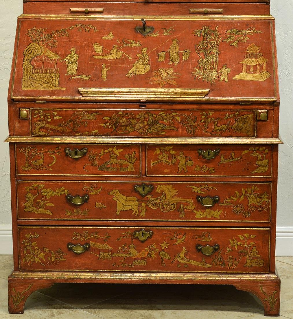 English Red Chinoiserie Queen Anne Secretary - 2