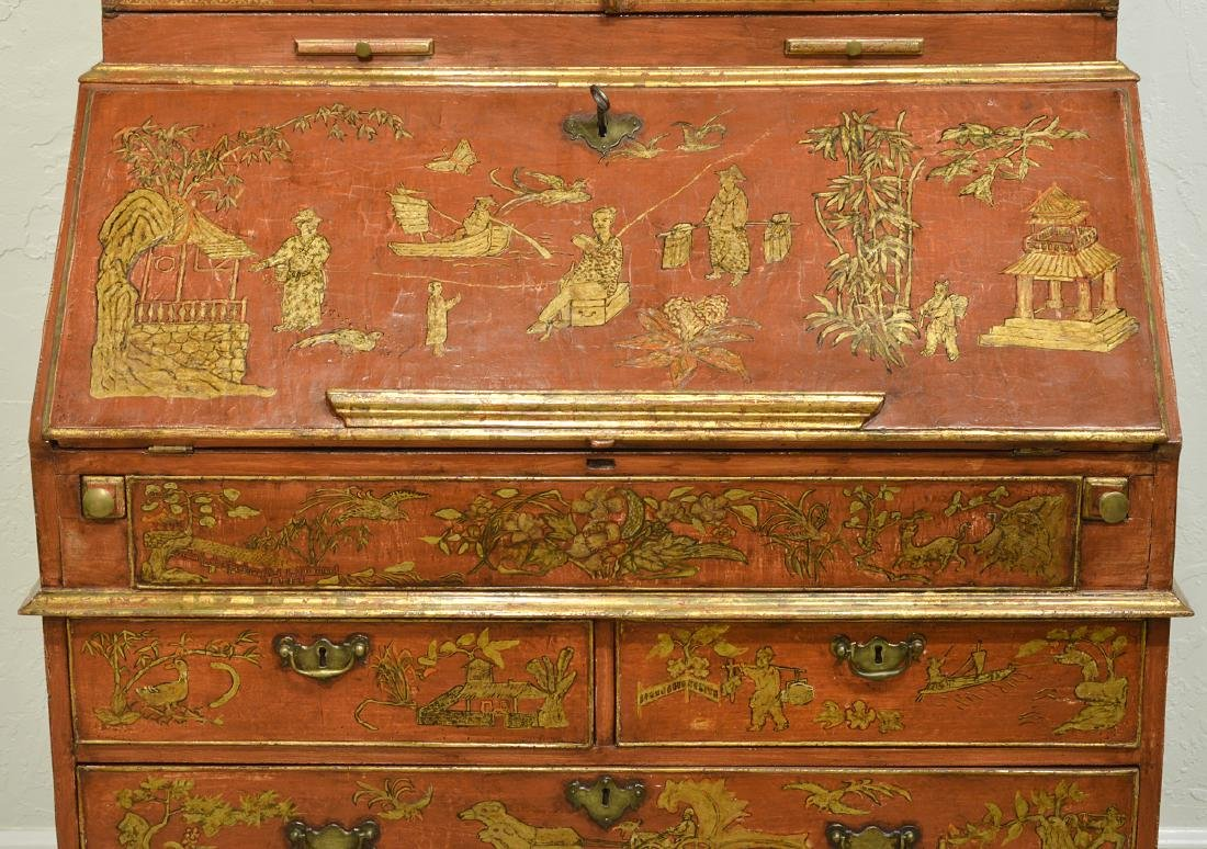 English Red Chinoiserie Queen Anne Secretary - 4