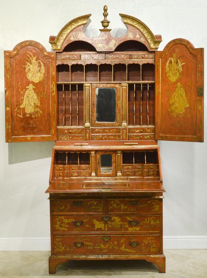 English Red Chinoiserie Queen Anne Secretary - 5