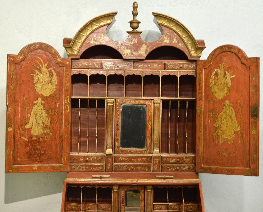 English Red Chinoiserie Queen Anne Secretary - 6