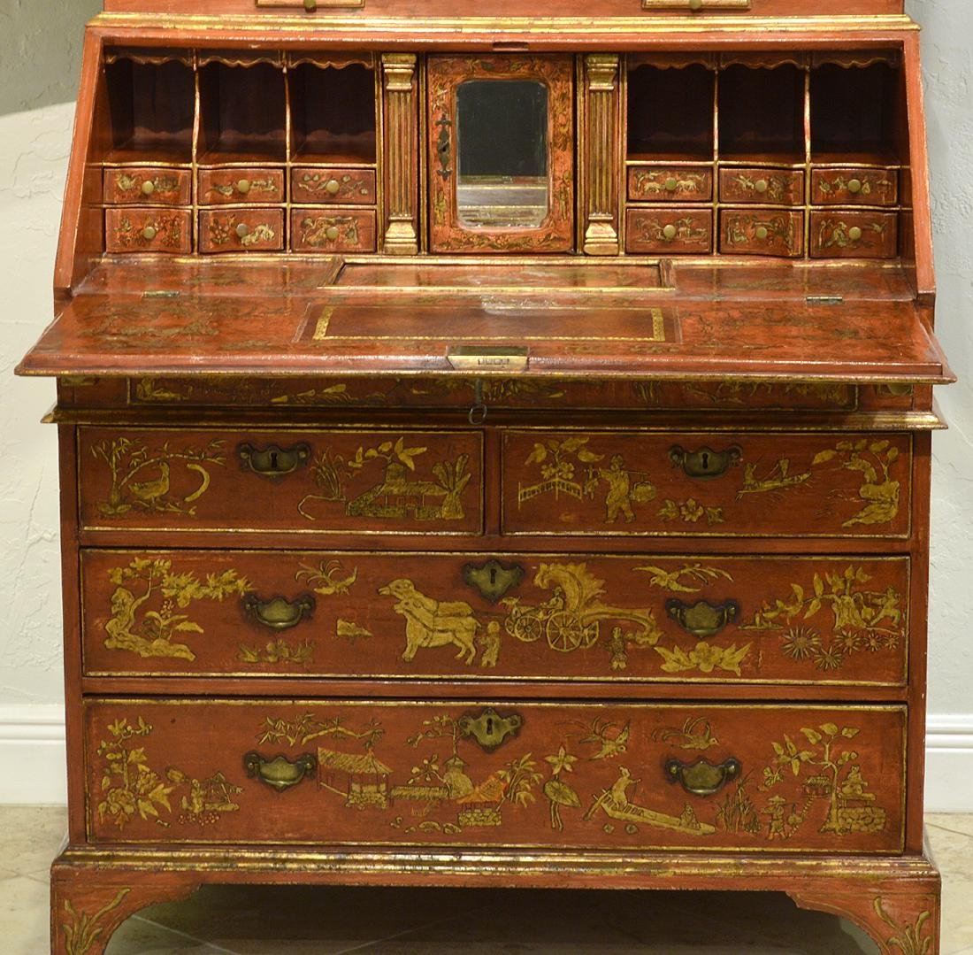 English Red Chinoiserie Queen Anne Secretary - 7