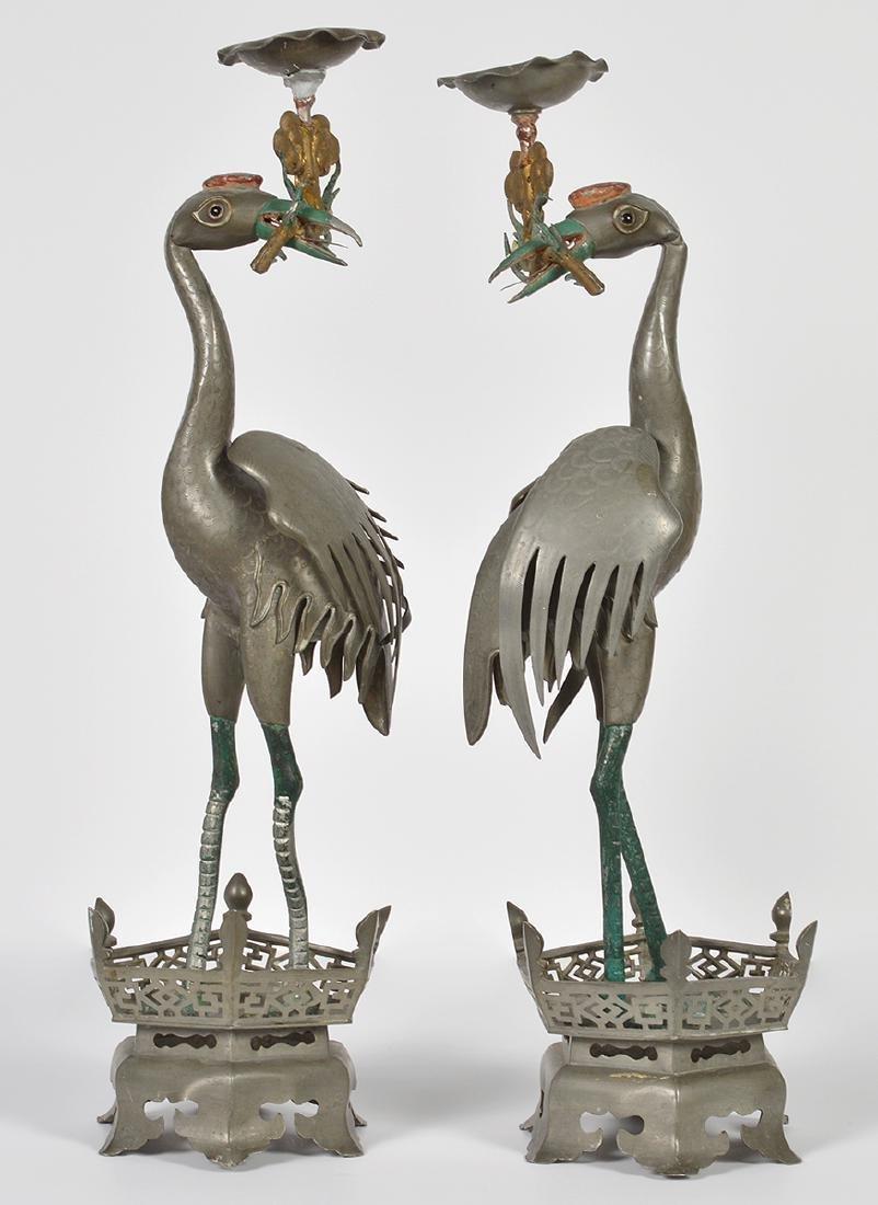 Pr. Chinese Pewter Crane Candlesticks