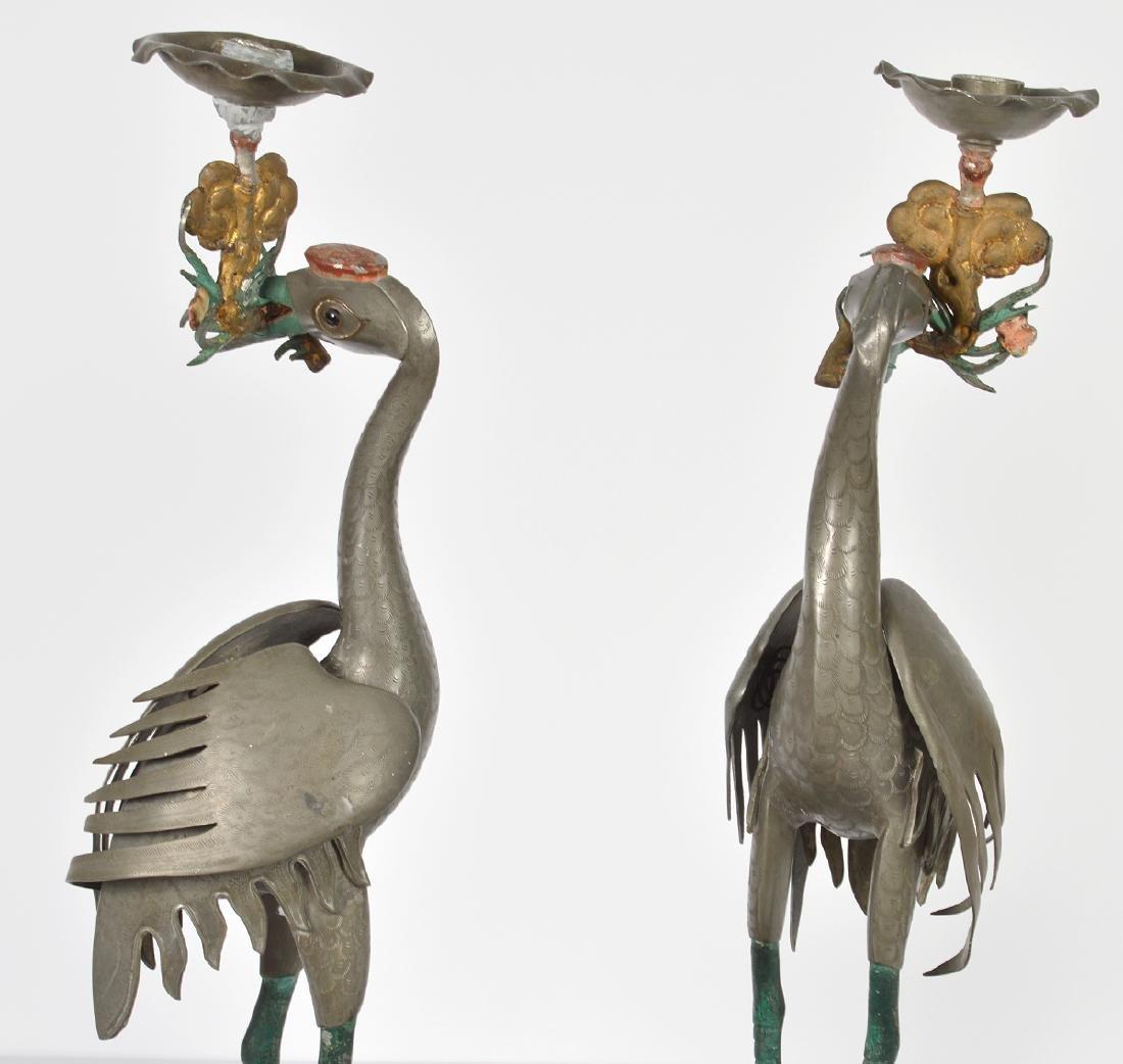 Pr. Chinese Pewter Crane Candlesticks - 6