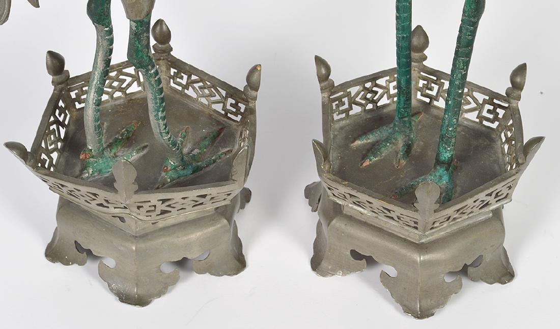Pr. Chinese Pewter Crane Candlesticks - 7