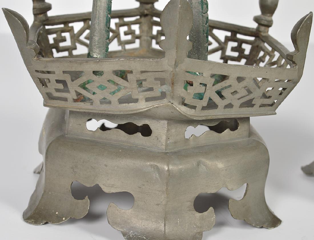 Pr. Chinese Pewter Crane Candlesticks - 8