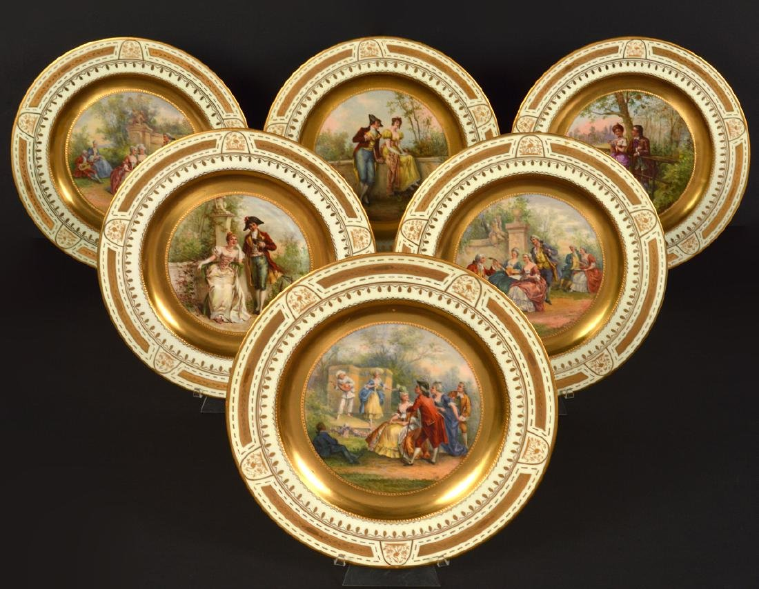Set of 6 Signed Royal Vienna Plates