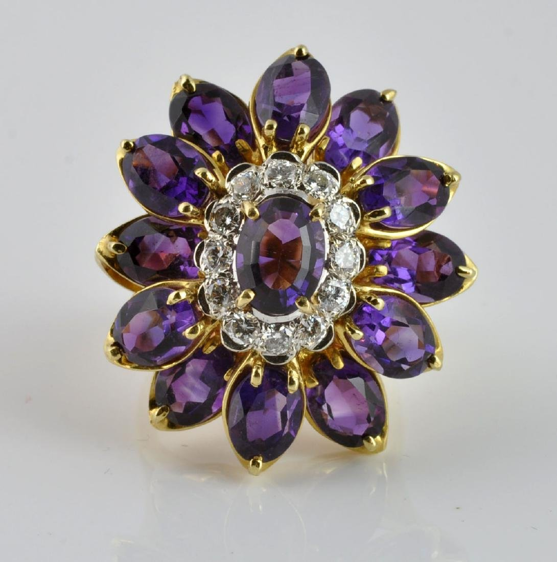 Large Amethyst & Diamond Ring in 18Kt Gold