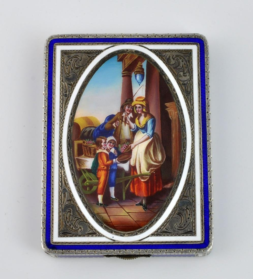 German Sterling Enameled Card Box, Hallmarked